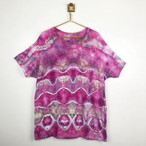 Custom Hand Dyed Tie Dye Fuchsia T-Shirt Boho